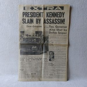 1963 Newspaper Day of Kennedy's Assassination